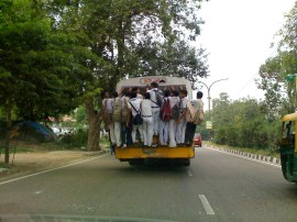 Dangerous way for School Kids to go back Home....